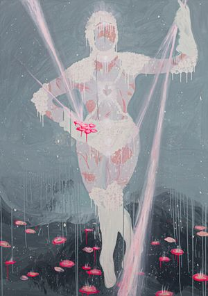Venus: Impossible Flowers Bloom in Impossible Landscapes by Chati Coronel contemporary artwork painting