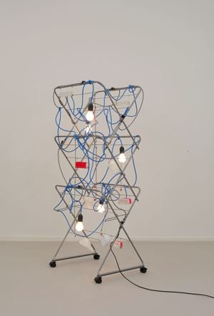 Non-Indépliable, nue – Strive and Stake Blue by Haegue Yang contemporary artwork