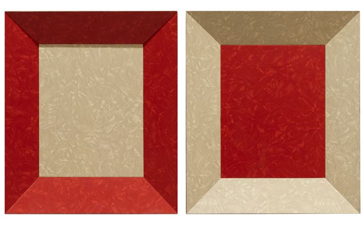 Richard Artschwager, Double Color Study (1965). Formica on wood, in 2 parts. Each: 41 x 35 x 10.5 cm.© 2020Richard Artschwager/Artists Rights Society (ARS), New York. Courtesy Gagosian. Photo: Roland Schmidt.