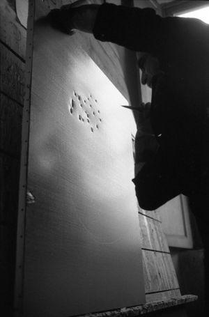 Lucio Fontana, The Sun, Milan (3) by Ugo Mulas contemporary artwork