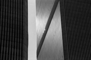Vertical sun and diagonal towers by Fernando Zaccaria contemporary artwork