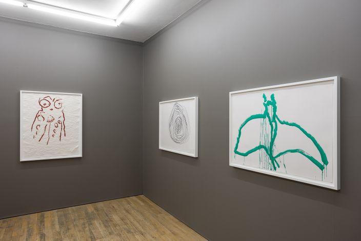 Exhibition view: Joan Jonas, Fawn Grove,Amanda Wilkinson Gallery, London (9 September–12 November 2021). Courtesy Amanda Wilkinson Gallery.