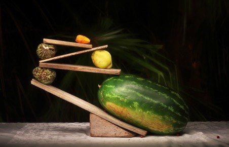 Melon with Quince in Balance by Marian Drew contemporary artwork