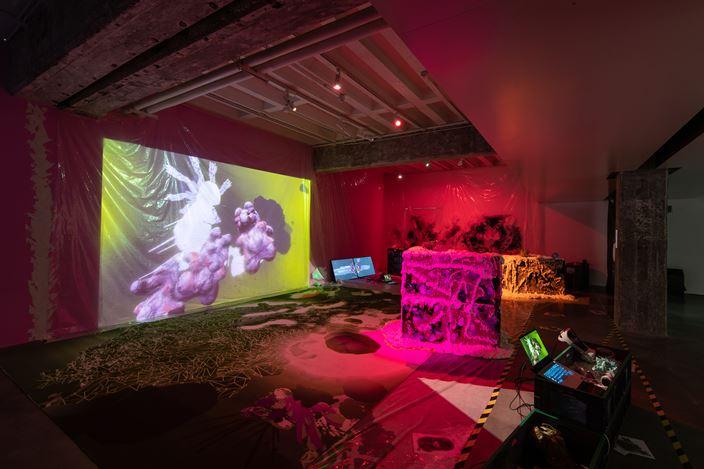 Peter Jiadong Qiang, Dungeon: Maximalism Hyperbody (2021). Mixed media installation: 3D printed materials, plastic sheets, carpet, spray foam, paint, VR device, computer. Courtesy Hyundai Motorstudio Beijing.