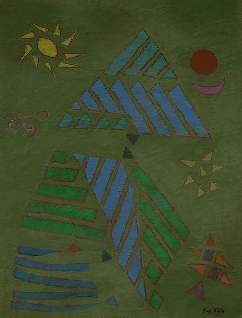 Sun, Moon and Star Abstraction by Fadjar Sidik contemporary artwork