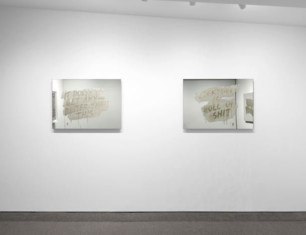 Exhibition view:Mel Bochner,Mirror Works, Krakow Witkin Gallery, Boston (11 May–15 June 2019). Courtesy Krakow Witkin Gallery.