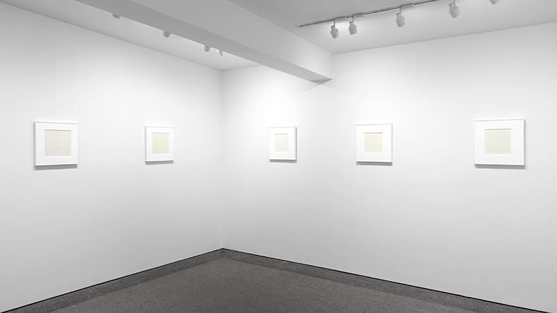 Exhibition view: Agnes Martin, On a Clear Day, Krakow Witkin Gallery (9 November–21 December 2019). Courtesy Krakow Witkin Gallery.