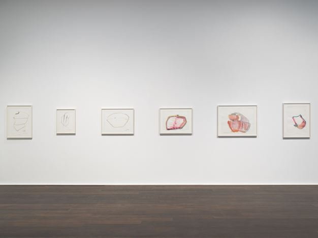 Exhibition view: Maria Lassnig, Zarter Mittelpunkt / Delicate Centre, Hauser & Wirth, Zürich (11 October–19 December 2019). © Maria Lassnig Foundation. Courtesy the Foundation and Hauser & Wirth.