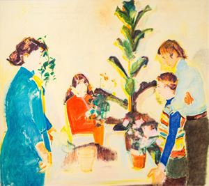 Flowers in our Home, Children and Parents as Flower Gardeners by Anita Fricek contemporary artwork