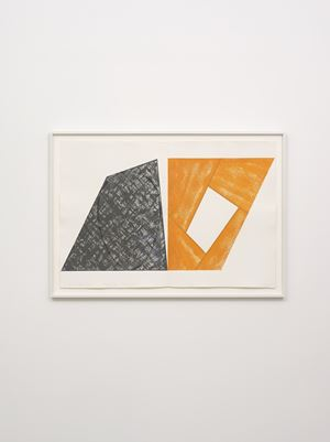 Gray Ellipse / Orange Frame by Robert Mangold contemporary artwork