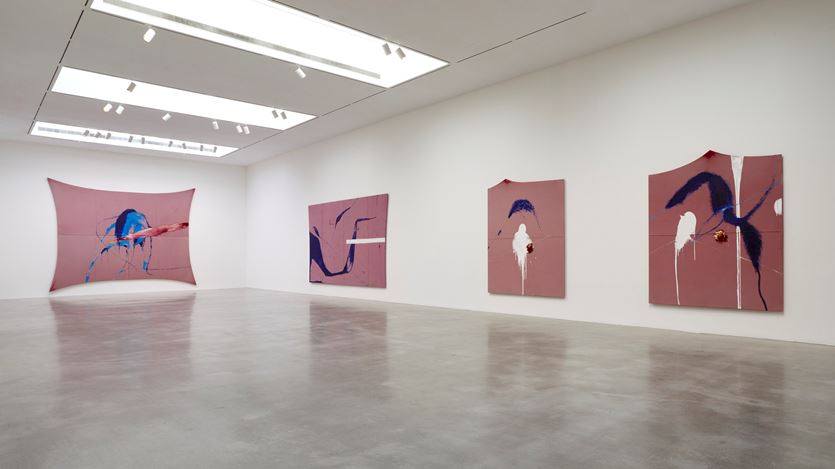 Exhibition view: Julian Schnabel, The Sad Lament of the Brave, Let the Wind Speak and Other Paintings,Pace Gallery, New York (18 September–24 October 2020). © Julian Schnabel. Courtesy Pace Gallery.
