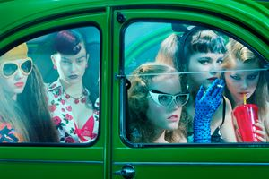 Five Girls in a Car #1 by Miles Aldridge contemporary artwork
