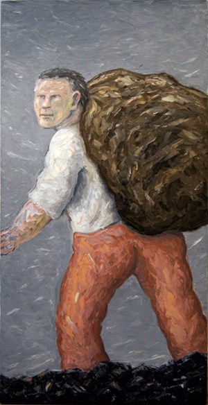 Painting (man with sack) by Peter Booth contemporary artwork