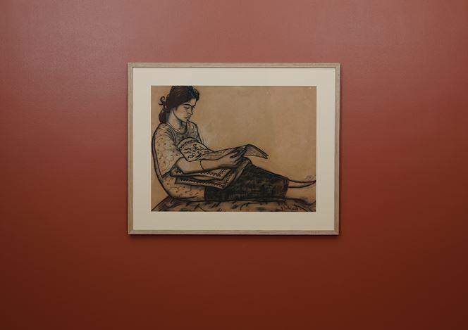 V.N. Joythi Basu,Untitled. Charcoal on brown paper. 53 x 70 cm. Exhibition view:Portraits andLandscapes on Paper,Galerie Mirchandani + Steinruecke, Mumbai (13 July–24 August 2018). Courtesy Galerie Mirchandani + Steinruecke.