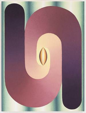 Linked Lingam in purple, yellow and green by Loie Hollowell contemporary artwork