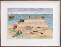 Postcards from Africa: Cleaning fish, Goree, Senegal by Sue Williamson contemporary artwork works on paper