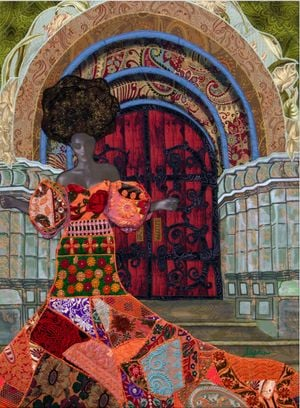 Stepping into Destiny by Phyllis Stephens contemporary artwork textile