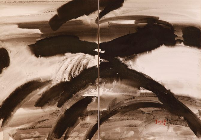 T'ang Haywen,Untitled (c.a. 1970). Ink and watercolour on Kyro card. Diptych, 70 x 100 cm. Courtesy de Sarthe.