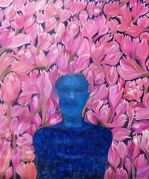 Manusia Biru dengan Bunga Kecombrang by Dadang Christanto contemporary artwork