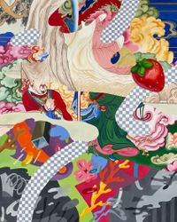 The forgotten tapestry by Ziping Wang contemporary artwork painting, works on paper, textile