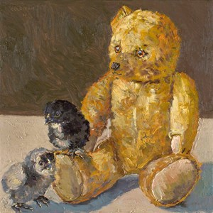 Unnamed chicks with Spaz bear by Lucy Culliton contemporary artwork