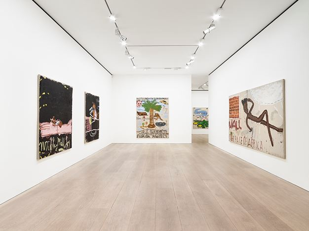 Exhibition view: Rose Wylie, Lolita's House, David Zwirner, London (20 April–26 May 2018). Courtesy the artist and David Zwirner, London.