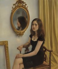The Girl in front of the Mirror by Pang Maokun contemporary artwork painting