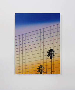 Sunset Palm with Reflection in Mirrored Building by Alec Egan contemporary artwork