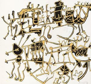Deer Carts with Piles of Birds by Wei Ligang contemporary artwork painting, works on paper, drawing