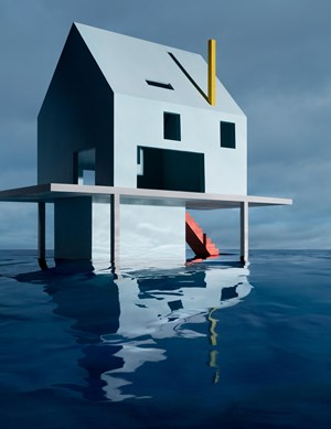 Blue House on Water #2 by James Casebere contemporary artwork