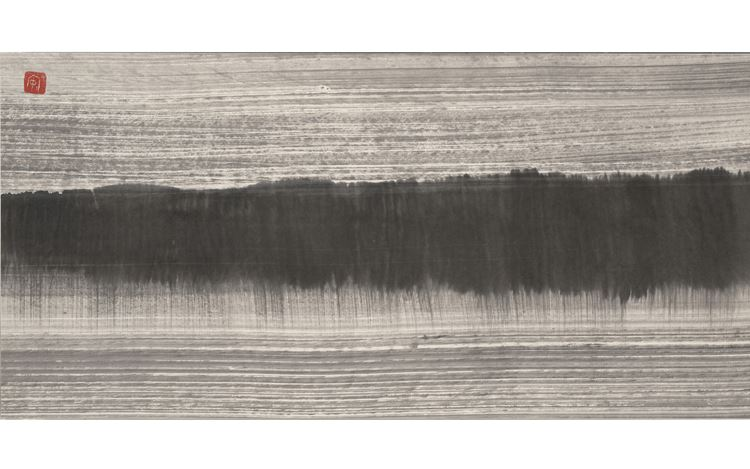 Lee An-cheng, Untitled (Landscape) 無題山水, (c. 1980s). Ink on paper. 36 x 75 cm. Courtesy Eslite Gallery, Taipei.