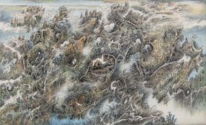 Mountains and Rocks 《山石圖》 by Leung Kui Ting contemporary artwork
