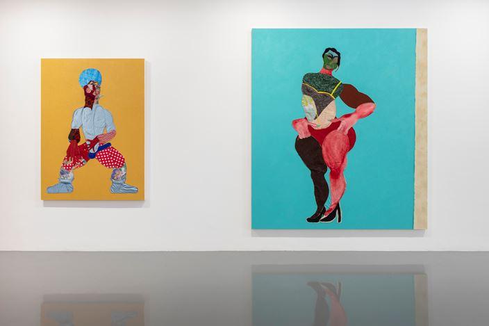Exhibition view: Tschabalala Self, Thigh High, Pilar Corrias (2 October–9 November 2019). Courtesy the artist and Pilar Corrias, London. Photo: Damian Griffiths.