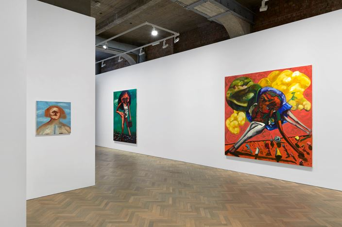 Exhibition View: Dana Schutz, Shadow of a Cloud Moving Slowly, Thomas Dane Gallery, London (16 September–19 December 2020). © Dana Schutz. Courtesy the artist and Thomas Dane Gallery. Photo: Ben Westoby.
