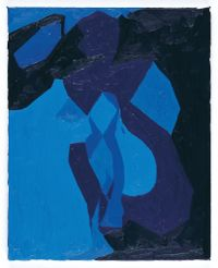 Nude Study in Blue by Chris Ofili contemporary artwork painting