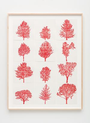 Numbers and Trees: Assorted Trees #1, Red Trees by Charles Gaines contemporary artwork