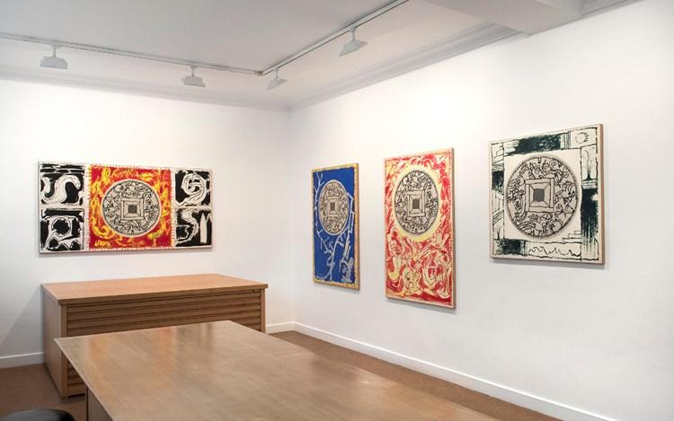 Exhibition view: Pierre Alechinsky, Quatorze peintures de l'été 2017, Galerie Lelong & Co., Paris (12 October-25 November 2017). Courtesy Galerie Lelong & Co., Paris.