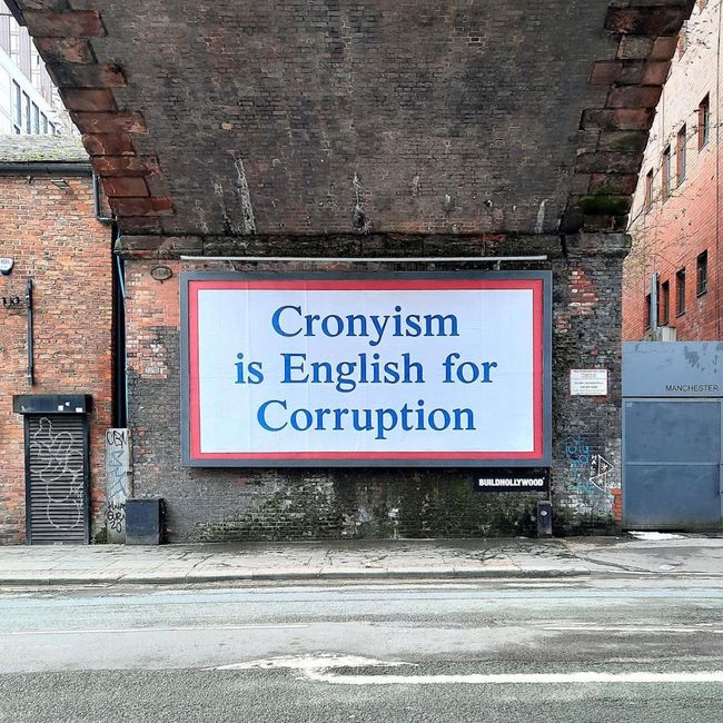 Cronyism is English for Corruption by Jeremy Deller contemporary artwork