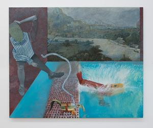 Outdoor Pool with Distant View by Christopher Croft contemporary artwork