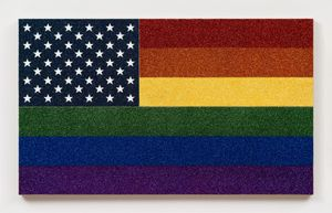 Rainbow American Flag for Jasper in the Style of the Artist's Boyfriend Destroyed by Fire in 1966 by Jonathan Horowitz contemporary artwork