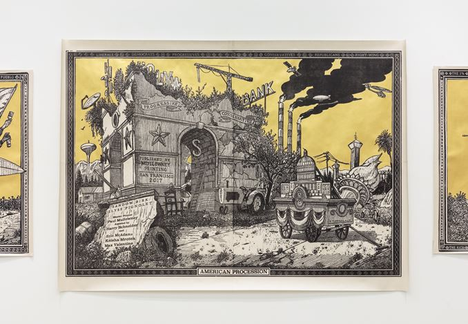Exhibition view: Sandow Birk, The Triumph of Fear,P•P•O•W Gallery, New York (10 January–9 February 2019). Courtesy P•P•O•W Gallery.