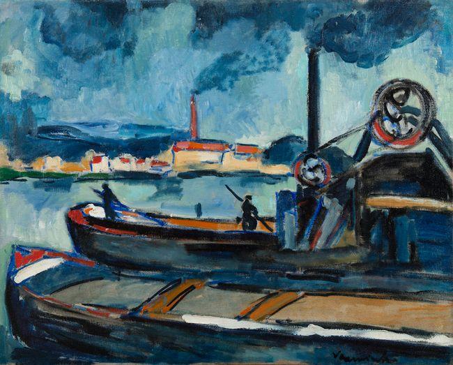 Péniches sur la Seine à Chatou by Maurice De Vlaminck contemporary artwork