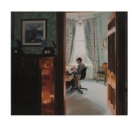 Hemming Pyjamas, Late Morning, December by Caroline Walker contemporary artwork painting