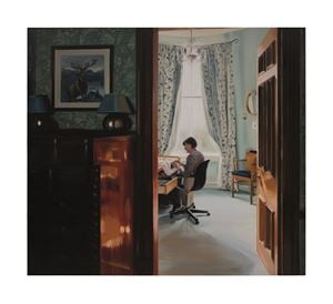 Hemming Pyjamas, Late Morning, December by Caroline Walker contemporary artwork