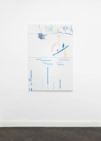 Michael Krebber, ohne Titel (Wirklichkeit erschlägt Kunst) 18 (2019). Exhibition view: Michael Krebber,Wirklichkeit erschlägt Kunst, Galerie Buchholz, Berlin (26 April–15 June 2019). Courtesy Galerie Buchholz.