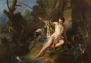 The Fisherman and the Little Fish from Fontaine's Fables by JEAN-BAPTISTE OUDRY contemporary artwork painting