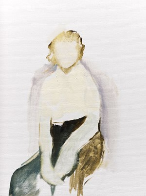 Untitled [boy sits in black pants and white shirt] by Summer Mann contemporary artwork