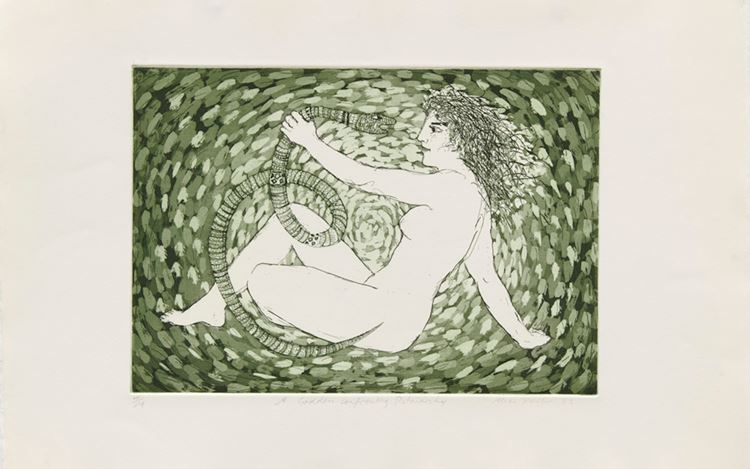 Alexis Hunter, A Goddess confronting Patriarchy (1983). Etching. 38 x 56 cm. Courtesy Richard Saltoun Gallery.