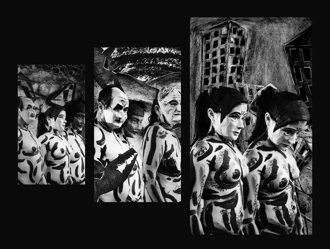 ¡Correlé, correlé, correlá, Por aquí, por aquí, por allá, Correlé, correlé, correlá, Correlé que te van a matar!  (Cinco mil) by Edison Peñafiel contemporary artwork