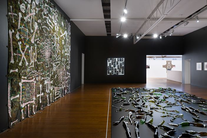 Installation view, Fiona Hall: Afraid Cascade, Roslyn Oxley9 Gallery, Sydney (6–28 March 2020). photo: Luis Power